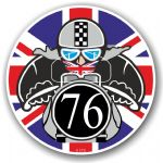 Year Dated 1976 Cafe Racer Roundel Design & Union Jack Flag Vinyl Car sticker decal 90x90mm